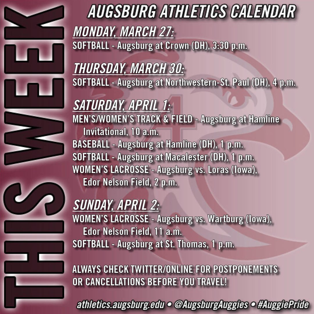 Here's this week's Augsburg Athletics schedule. Plan to attend events and share your #AuggiePride! https://t.co/zMFBkr0ckN