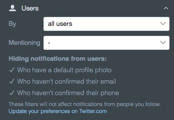 Notification columns now show if you have advanced filters enabled across Twitter. support.twitter.com/articles/20169…