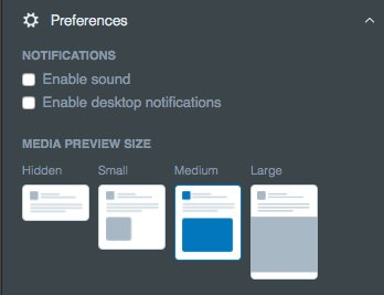 Plus Alerts and Media column options have been combined into a new setting: Preferences.