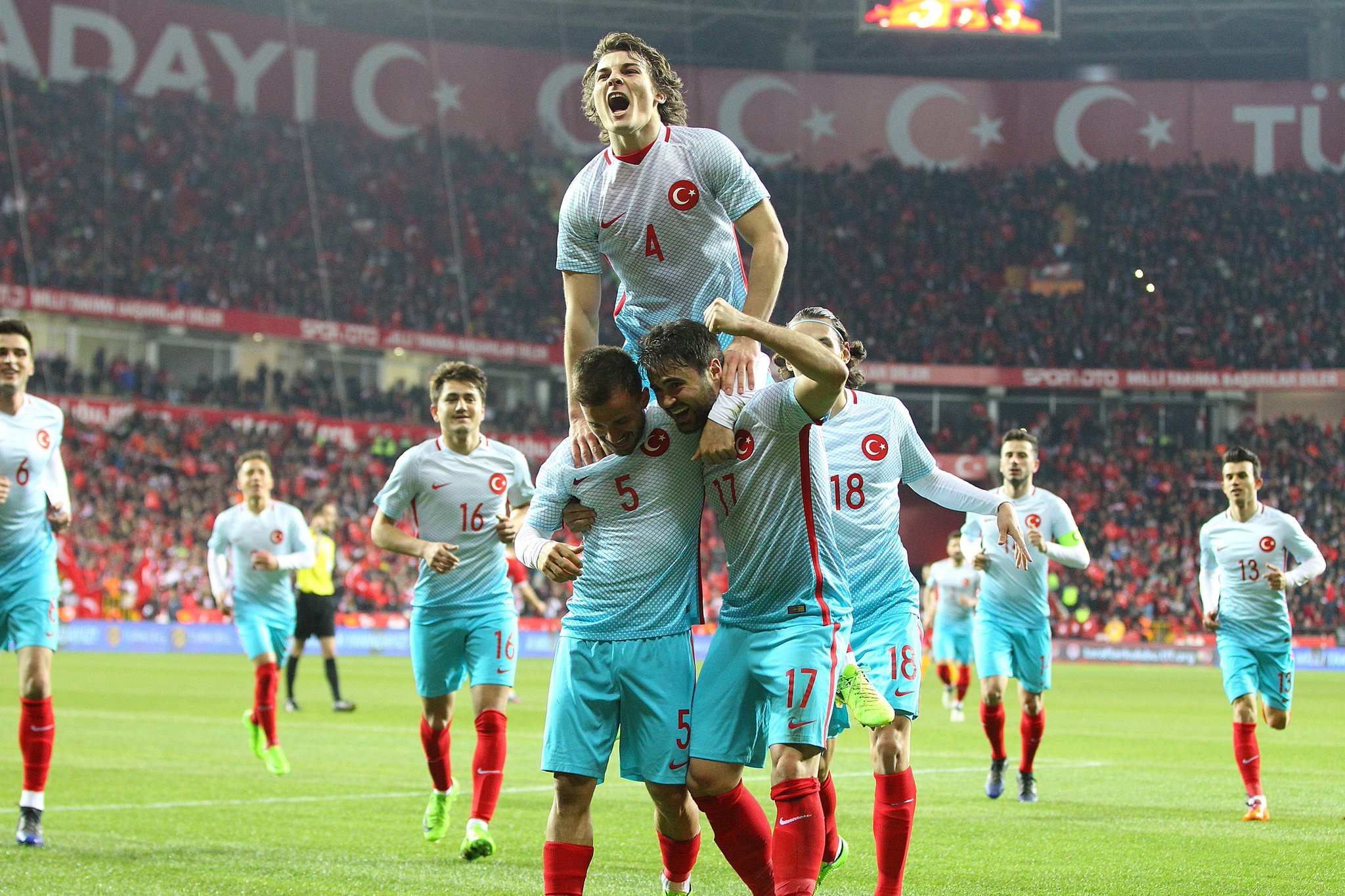 The Turkish players celebrate a goal against Moldova in March; photo: TFF