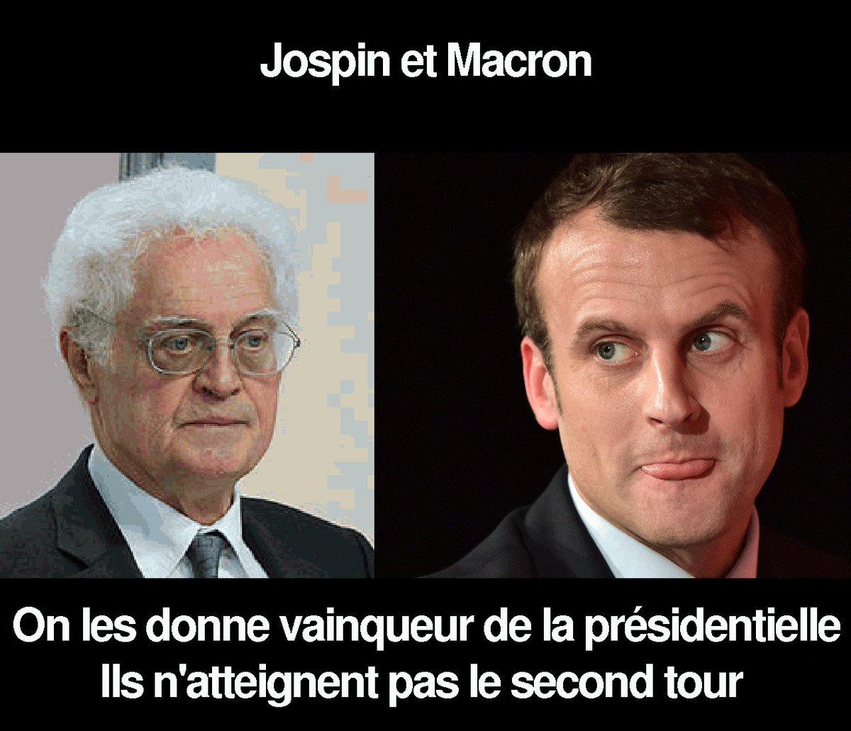 #Macron me rappelle vraiment #Jospin!  Les médias le donne gagnant de la #Presidentielle2017 … Alors qu&#39;il n&#39;ira pas au second tour. <br>http://pic.twitter.com/upaTw6PBtG