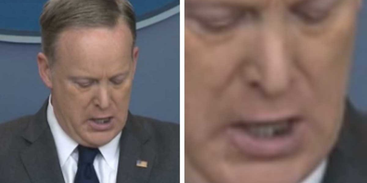 Sean Spicer just held a press conference with food in his teeth ☹️ htt...
