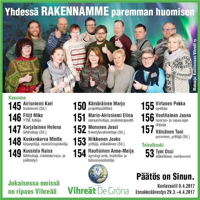 Koillismaan; #Kuusamo ja #Taivalkoski #Vihreät ehdokkaat #politiikka #kunta #vaalit2017 #PäätösonSinun<br>http://pic.twitter.com/CFZZuwxh5d