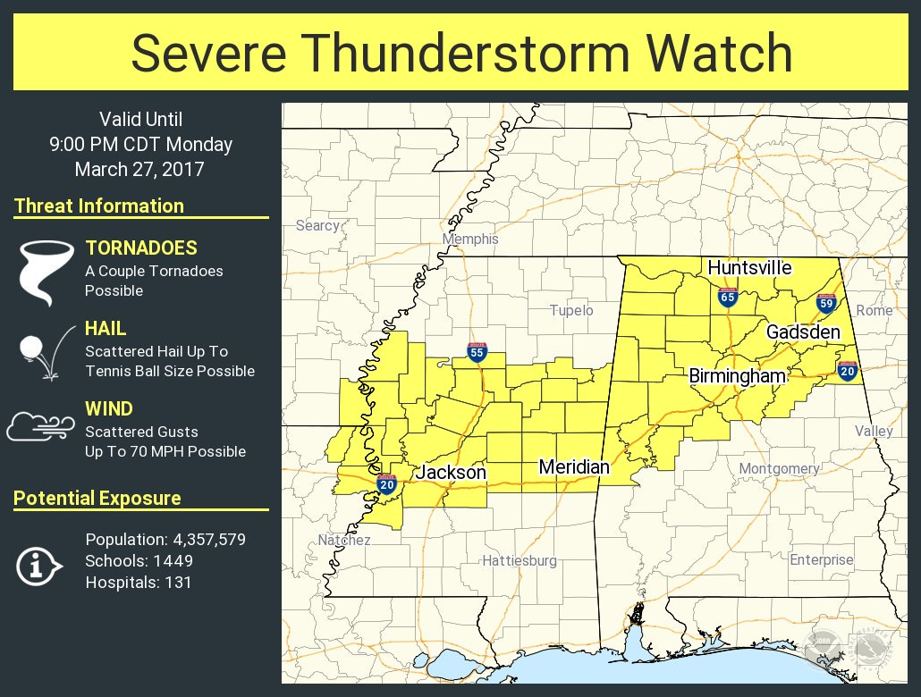 Severe t-storm watch until 9pm Ct. Main threats large hail and damagin...