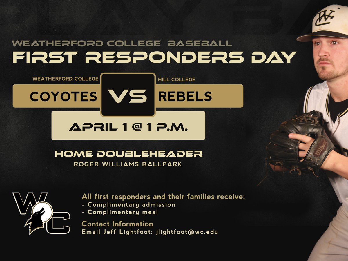 #FirstResponders receive free admission and free meals for their family at Roger Williams Ballpark this Saturday. #WCCoyotes<br>http://pic.twitter.com/Fe64mvlW58