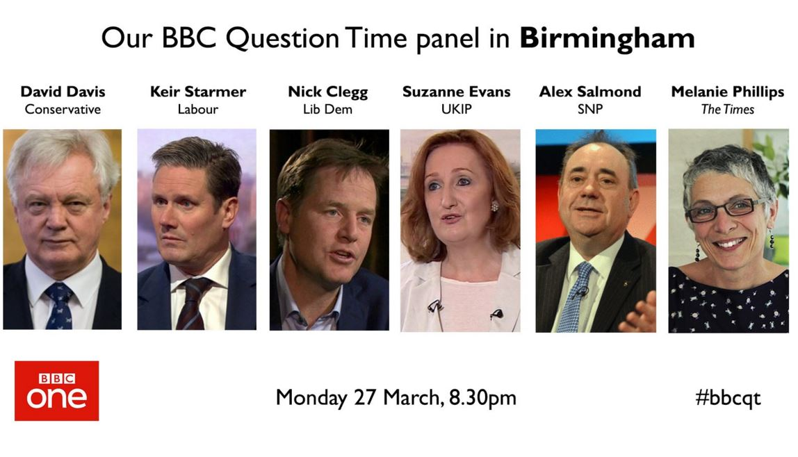 Coming up on @BBCOne now: a Question Time special - Britain After Brex...
