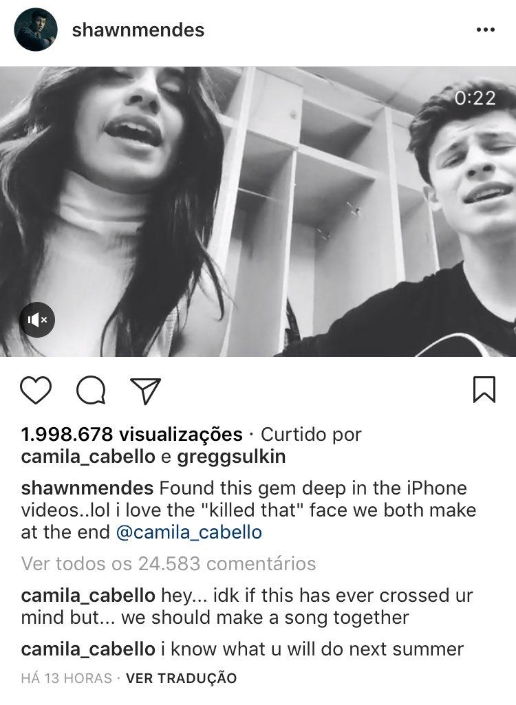 Camila comentou o vídeo do @ShawnMendes no Instagram.
