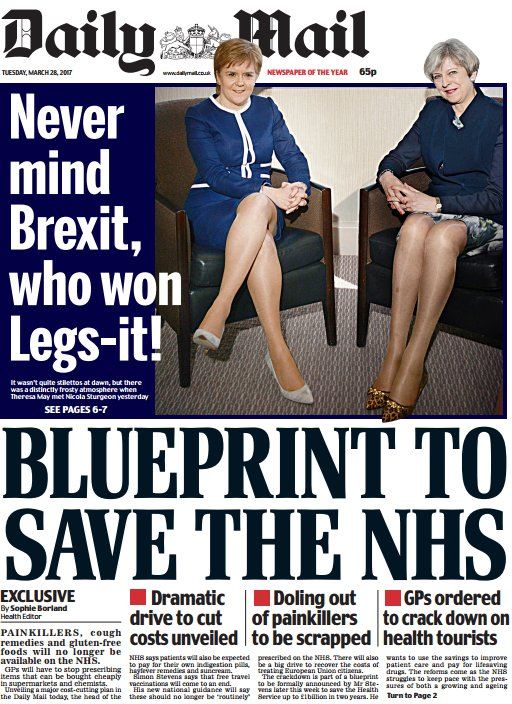 DAILY MAIL FRONT PAGE: Blueprint To Save The NHS #skypapers