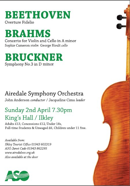 Don&#39;t miss a fab concert this Sunday 7.30 Kings Hall #Ilkley. #Beethoven #Fidelio #Brahms Double #Concerto #Bruckner 3. A rare treat.<br>http://pic.twitter.com/jDLIkiyGRR