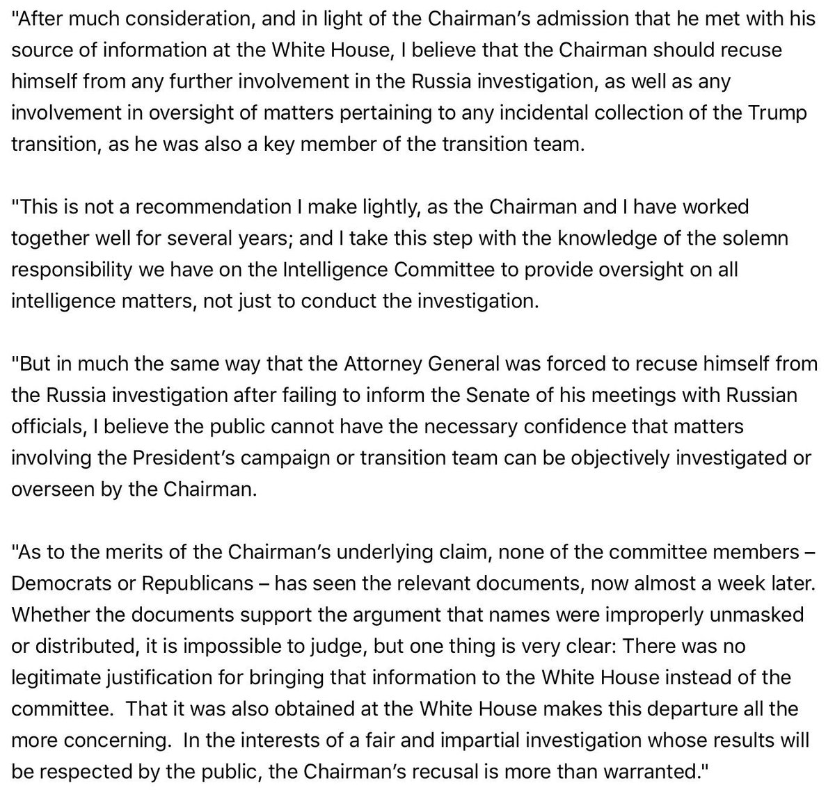 After much consideration I believe Chairman should recuse himself from involvement in investigation/oversight of Trump campaign & transition