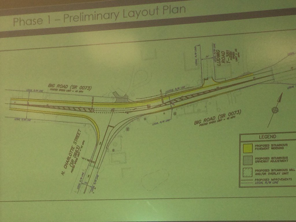 Plan for intersection of Route 663 and Route 73 would add left turn lane, reduce hill to improve site distance. https://t.co/ibkXK4OVhl