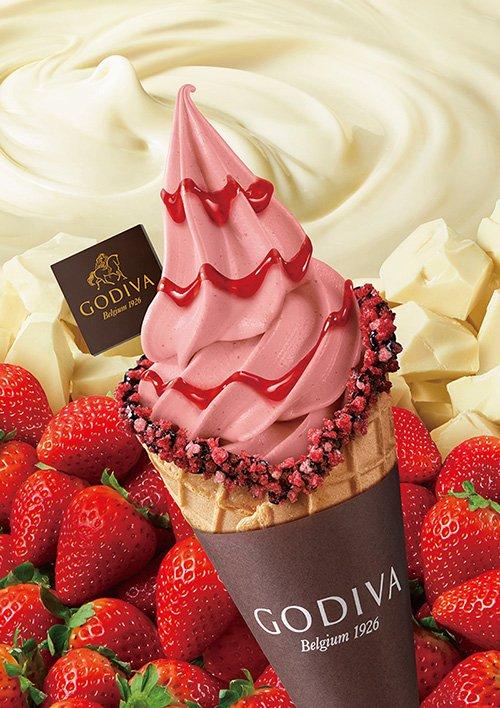 ゴディバ、ソフトクリームに新フレーバーストロベリー&ダークチョコレートのショコリキサー登場 fash…