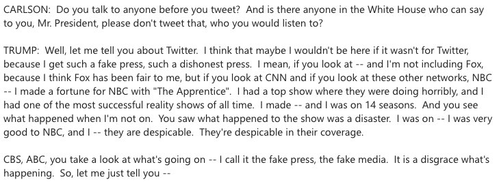 Tucker Carlson asked President Trump if he talks to anyone before he tweets. https://t.co/iHTaPFCvZc