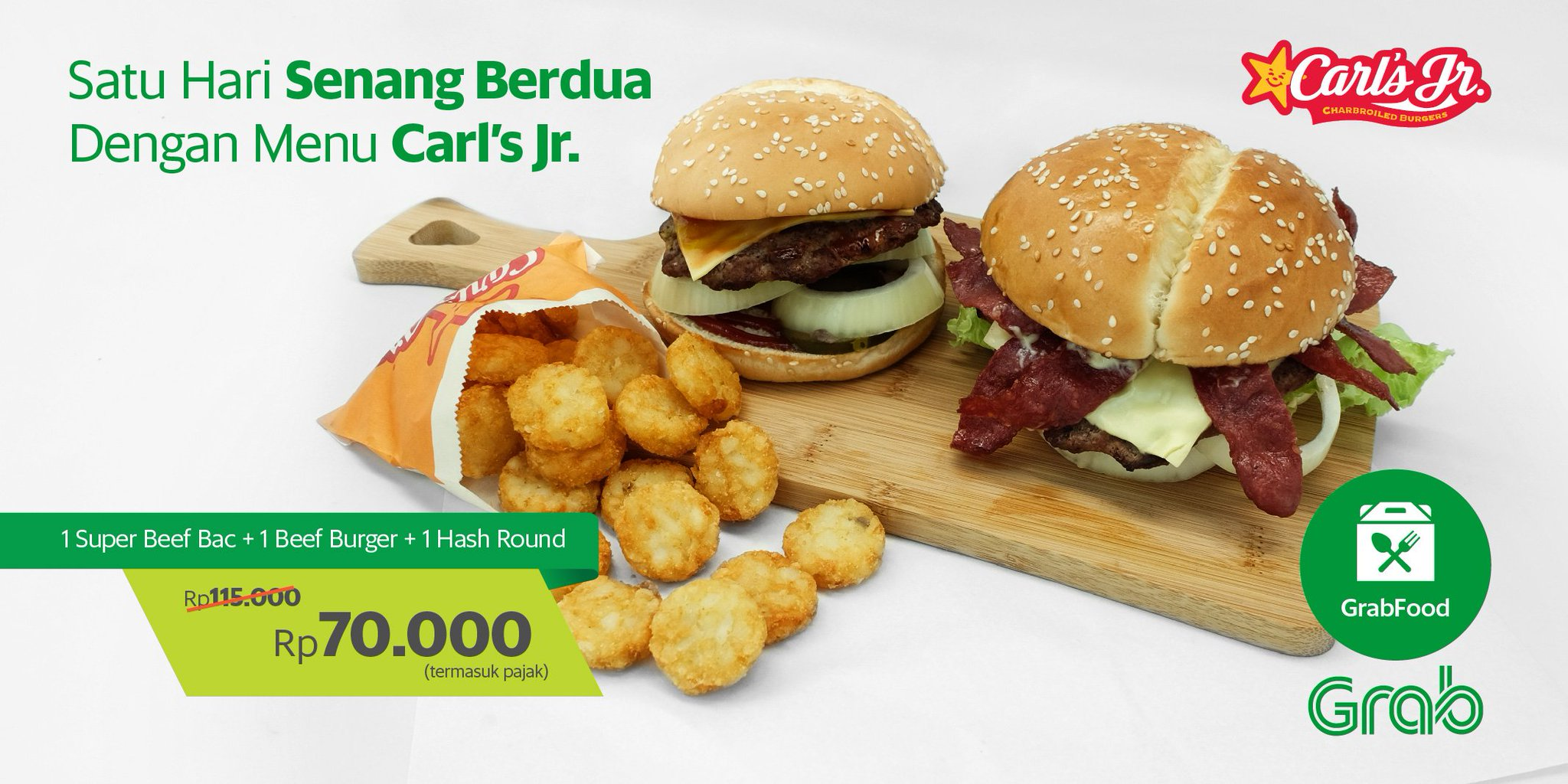 Grab Indonesia Pa Twitter Kenyang Ber2 Lbh Hemat Di Carl S Jr Enaknya Super Beef Bac Beef Burger Hash Round Cuma 70ribu Yuk Order Https T Co Lfohd1ia89 Https T Co V5eqmoyrtv