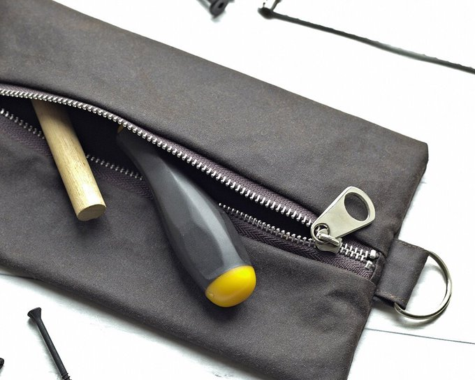 Gift For Men, Waxed Canvas, Tool Pouch, Flat Pack, Craft Tools Bag, Pencil Case, Toiletry Pouch, Travel Bag, Brown Wallet, Rustic Bag, His