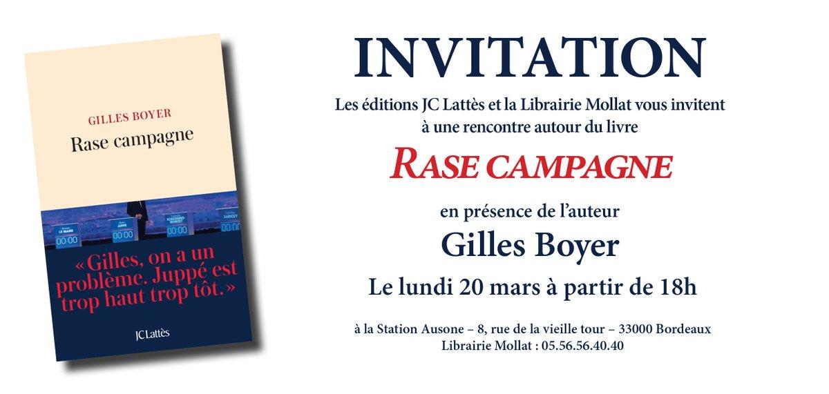 A lundi à 18h @librairiemollat à Bordeaux ! #RaseCampagne