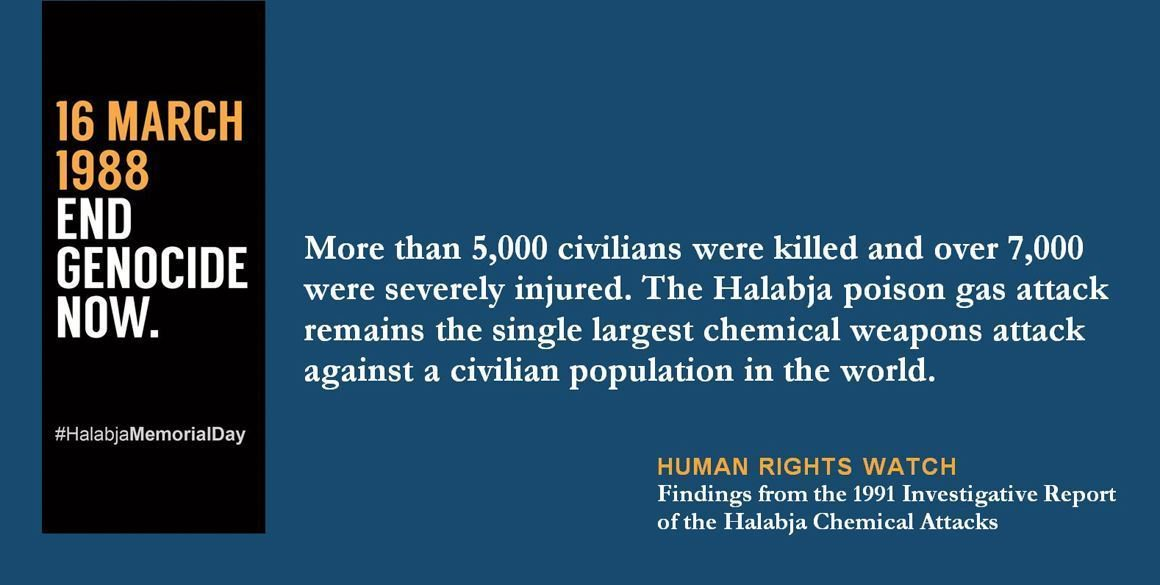 Today we commemorate March 16, 1988, when the poisonous gas attacks on #Halabja were carried out. #HalabjaMemorialDay #EndGenocideNow https://t.co/8z0Xa6QPVP