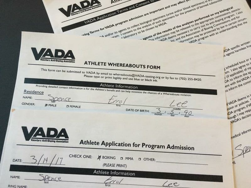 Adam Noble Forcey On Twitter Errol Spence Signs Vada Drug Testing
