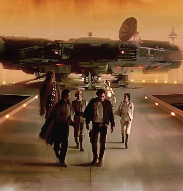Stunning #StarWars #EmpireStrikesBack artwork featuring the #MillenniumFalcon landing on #Bespin #HanSolo #LandoCalrissian #Leia #Chewbacca<br>http://pic.twitter.com/mpR0F08VX2