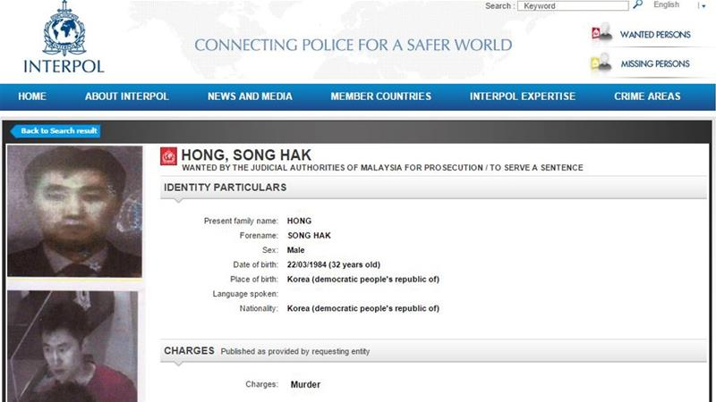 Interpol notice issued for North Korean murder suspects