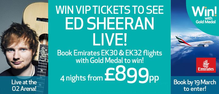 Gold medal on twitter 3 days left to win vip ed sheeran tickets by gold medal on twitter 3 days left to win vip ed sheeran tickets by booking emirates ek30 or ek32 ights from london heathrow to dubai m4hsunfo