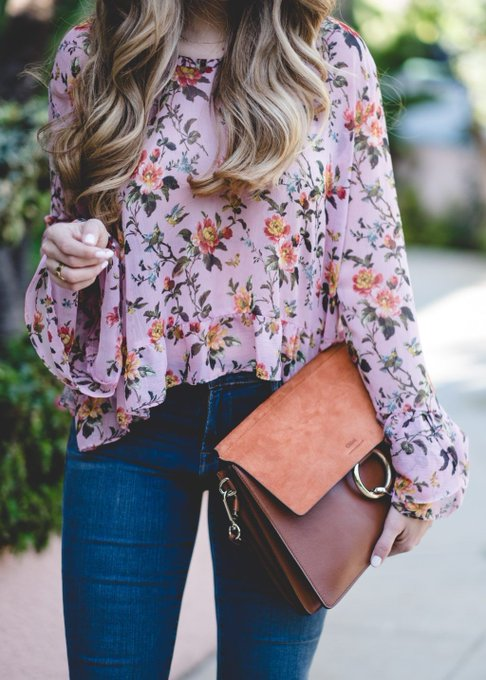 Floral Blouse with Ruffles