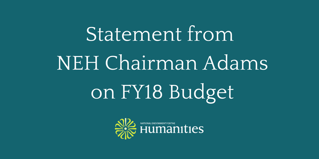 Statement from Chairman Adams on the Proposed Elimination of NEH in FY18 Budget: https://t.co/5zKWWEK2iv https://t.co/M5pKJWbZQE