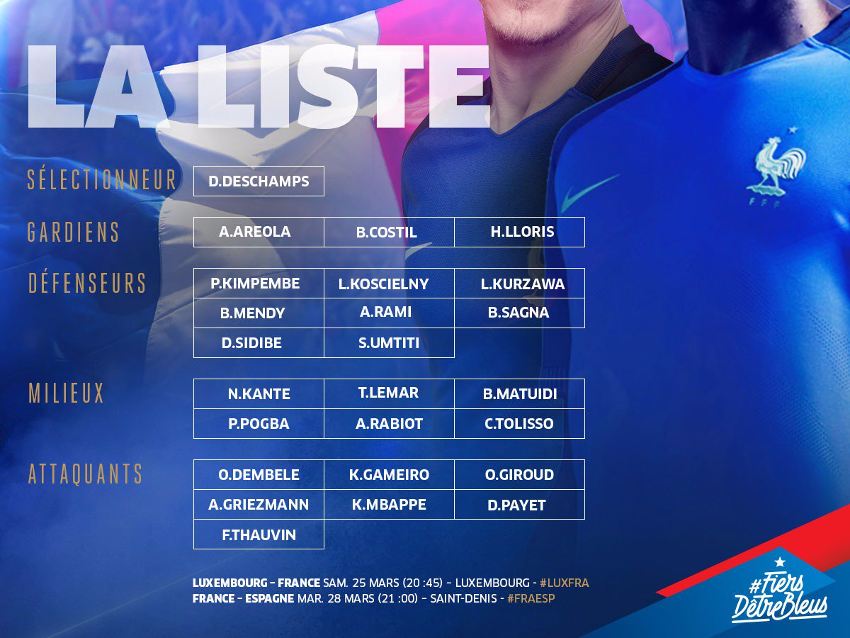 RDV lundi à Clairefontaine! On a 2 matches à préparer👊 Luxembourg-France le samedi 25 mars France-Espagne le mardi 28 mars #FiersdetreBleus
