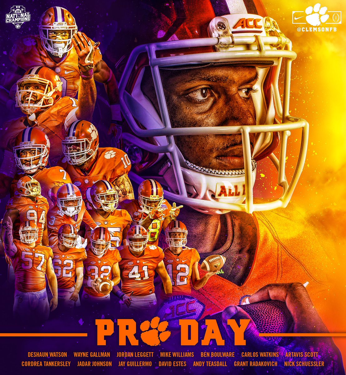 Show out, #ClemsonFamily.  See our Pro Day live on WatchESPN from 10am...