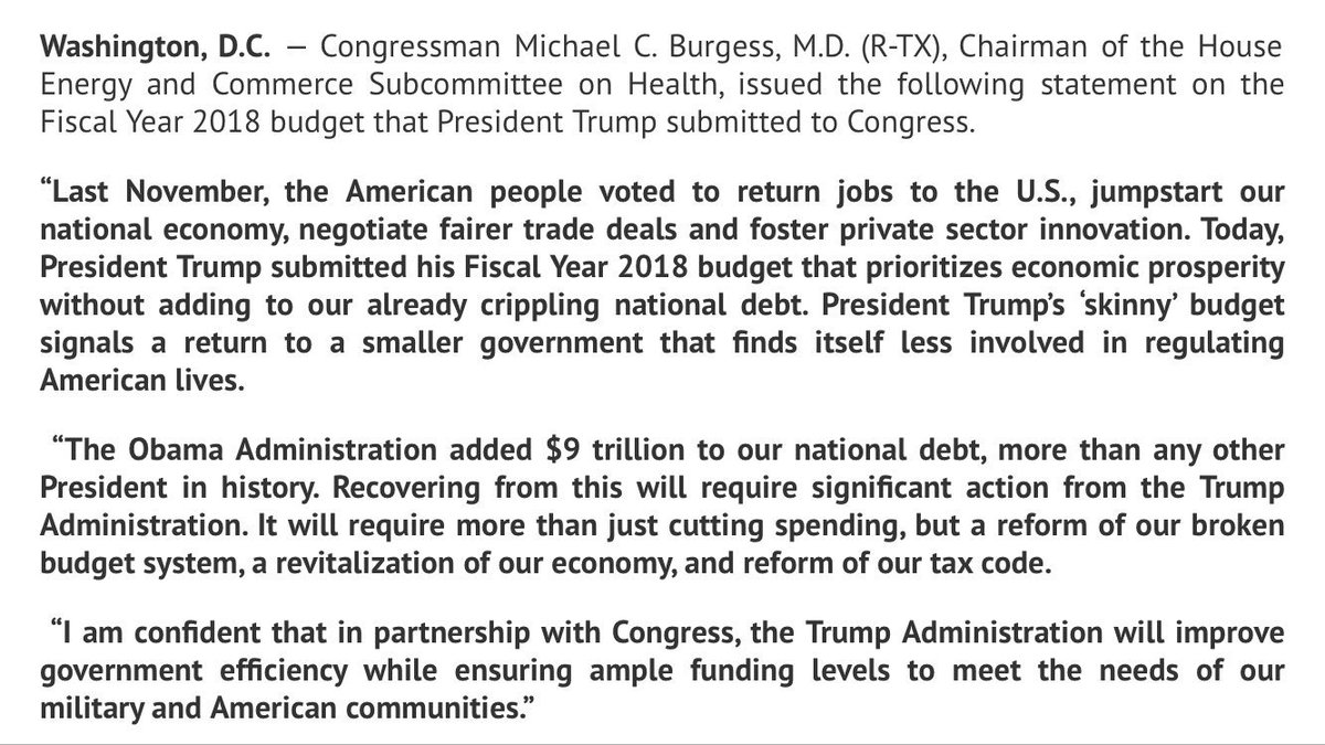 Michael burgess md on twitter today president trump submitted his michael burgess md on twitter today president trump submitted his 2018 budget blueprint aimed at reducing the size of govt malvernweather Choice Image
