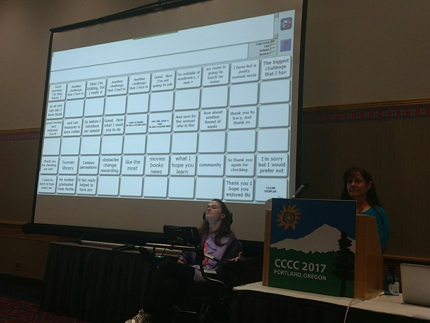 Meg gives us a view of her composing process & assistive tech as she writes responses to ?s. VGA cable slows computer down. #4c17 #a28 https://t.co/voCVl8pIIC