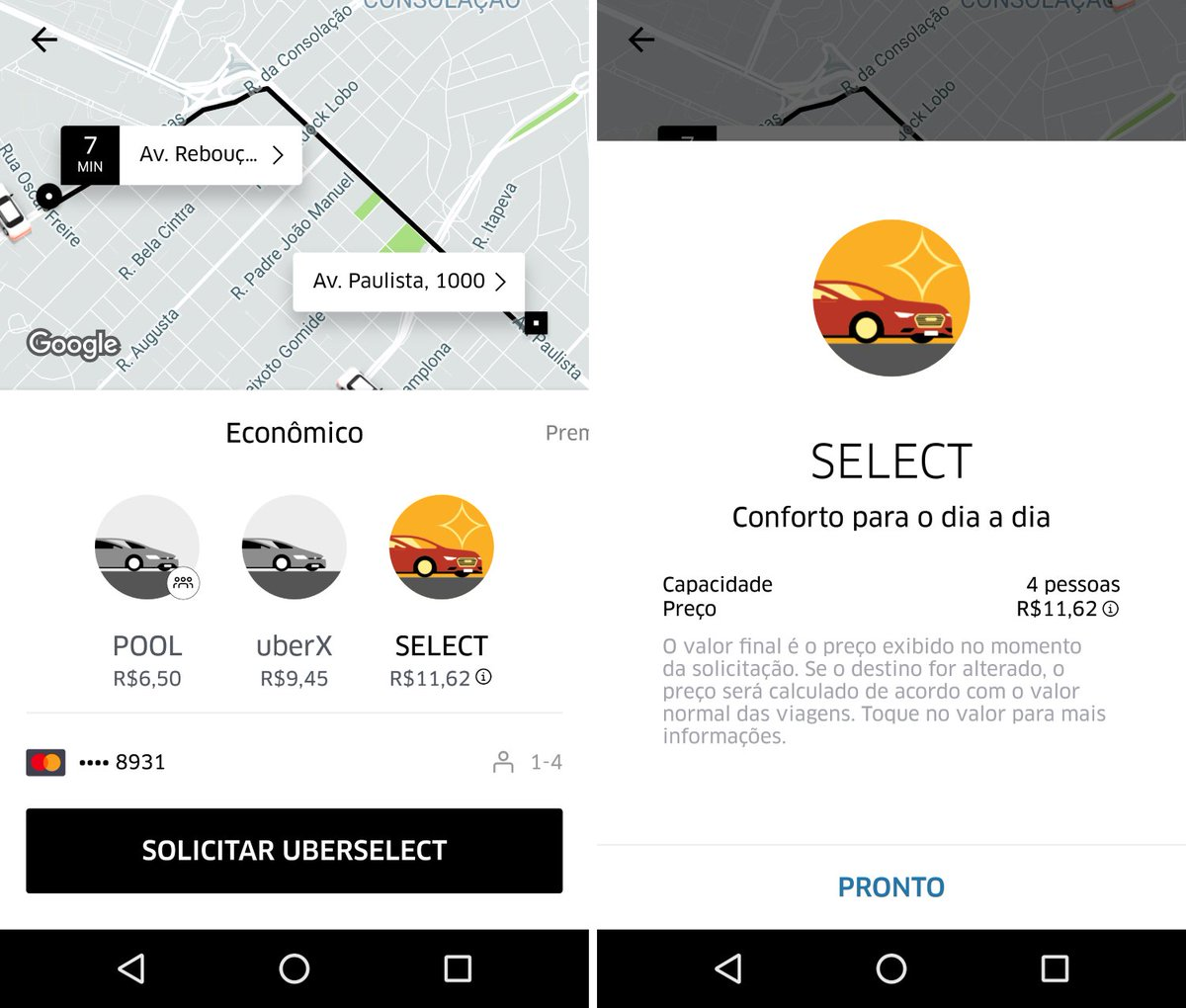 Comparamos os preços do UberX, UberSelect e concorrentes: https://t.co/LLuBfW2za2