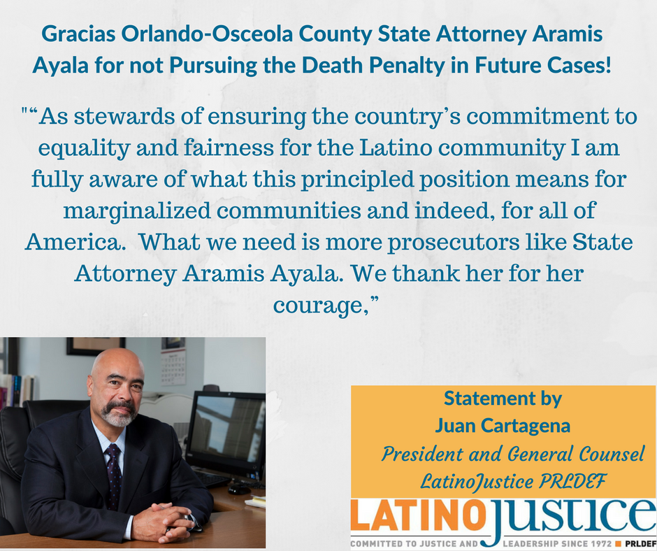 Gracias @DonellAyalaEsq for taking a bold step forward by not pursuing #DeathPenalty in future cases #ProsecutorIntegrity #CJReform #Florida https://t.co/24WgwNfevZ