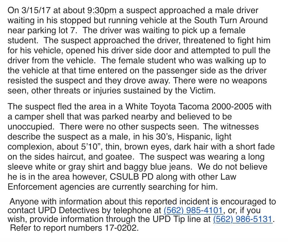 .@READYBEACH emailed a timely warning to the @CSULB community Thursday regarding a suspect that tried to steal a vehicle in parking lot 7. https://t.co/IbzFMz1kaZ