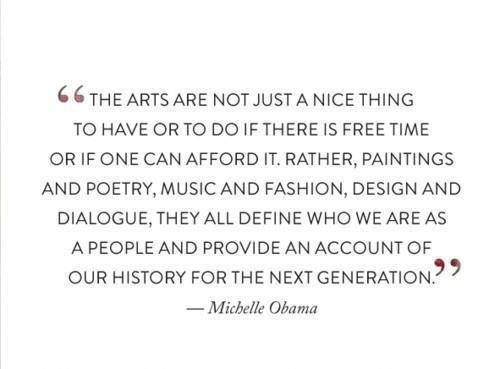 #MichelleObama on the #arts. #SavetheNEA #SupportTheArts #artsadvocacy @ArtsActionFund @NEAarts @Americans4Arts<br>http://pic.twitter.com/HluMPEDVVJ