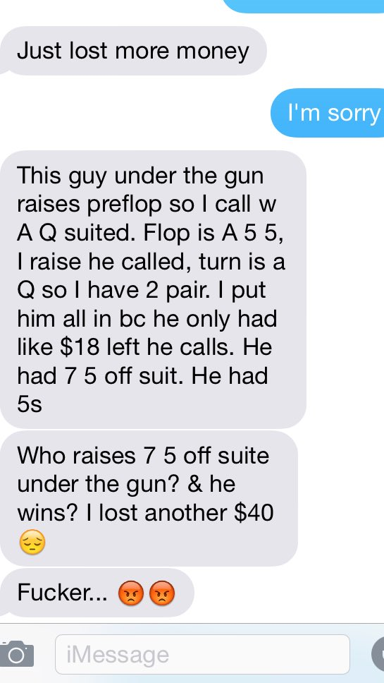 When my girlfriend plays poker I get these messages.