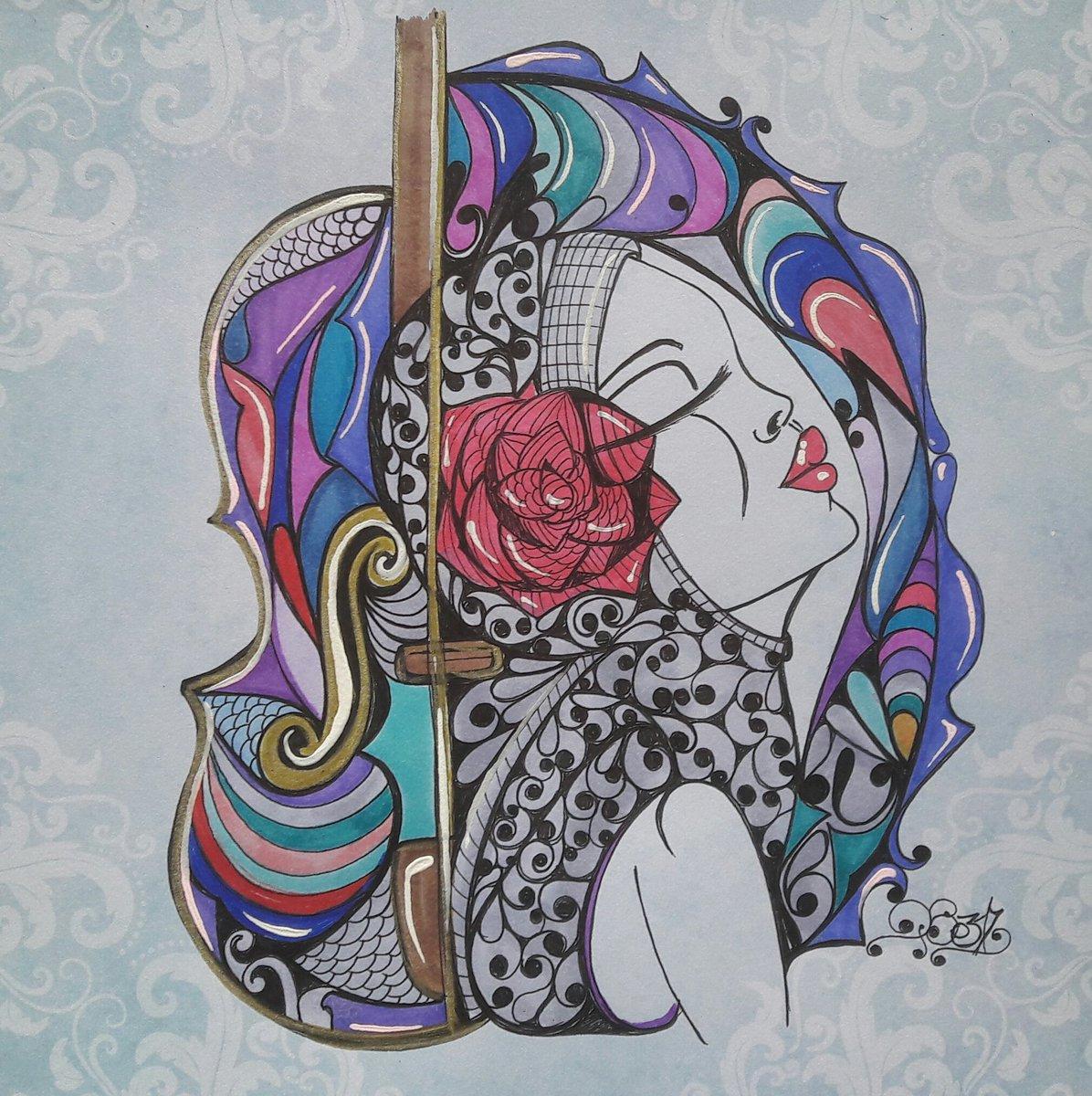 Petite nana du jour  Carton à dessin feutre et bic  #nana #illustration #dessin #popart #violon <br>http://pic.twitter.com/fKfQAob2kw