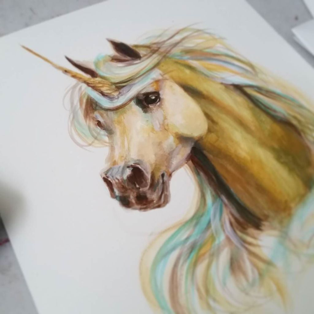 It&#39;s been a while since I made magical looking unicorns =) #wip #acrylicpainting #golden #…  http:// ift.tt/2mNDpb3  &nbsp;  <br>http://pic.twitter.com/3MbP62t1FL