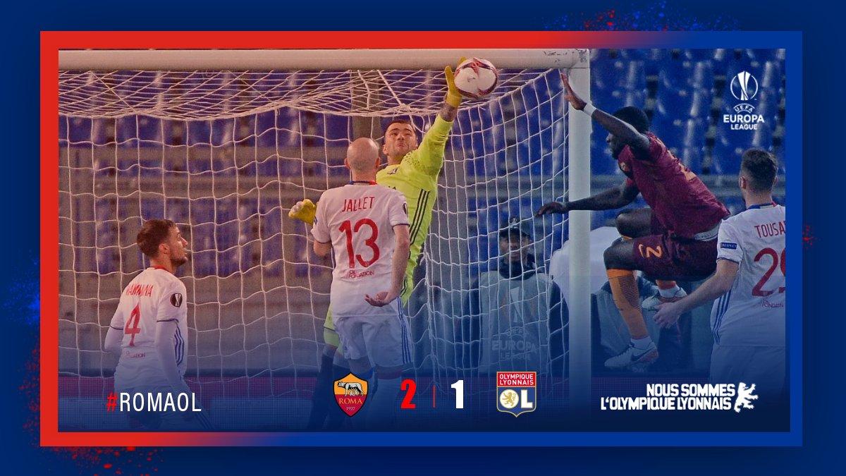 C'est fait !! Souffrance !!  Défaite (2 -1) à Rome  mais c'est bien la #teamOL qui se qualifie en 1/4 de finale de l'#UEL !! 👊👊 #RomaOL