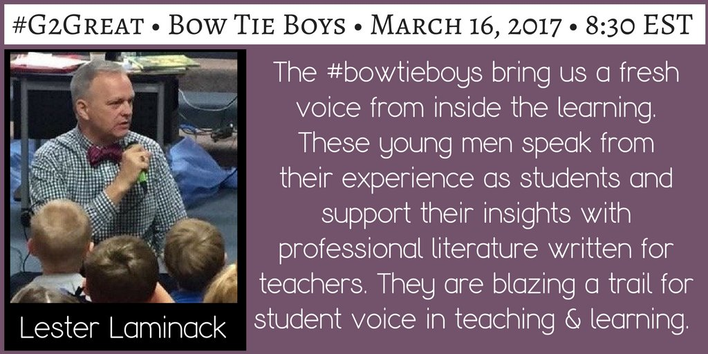 Prepare to be utterly inspired on #G2Great tonight. AMAZING #BowTieBoys HS Sts share teaching thru THEIR eyes (& very wise eyes they are!) https://t.co/pr64zBOz6P
