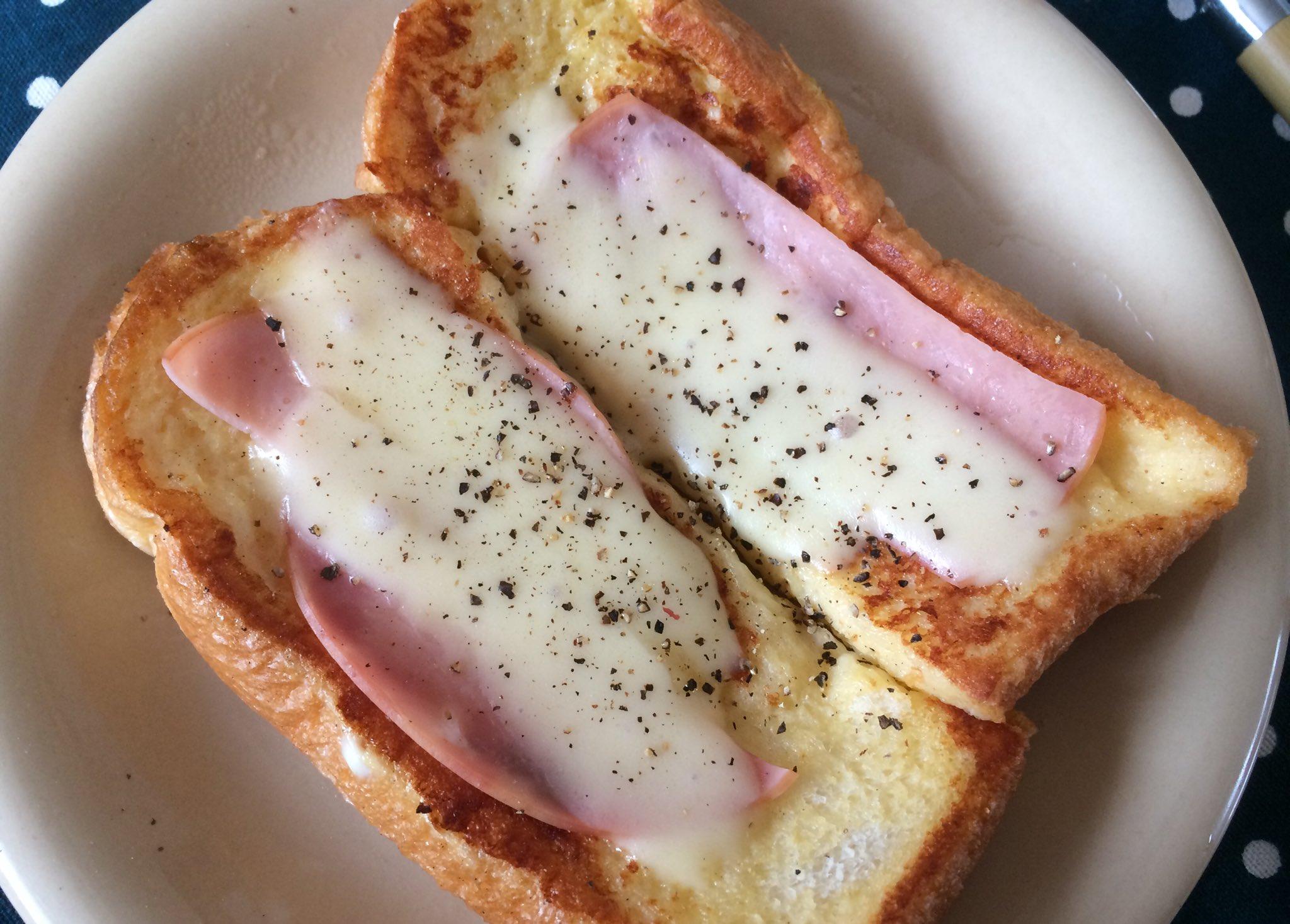 甘くないフレンチトーストが食べたくて、砂糖の代わりに粉チーズと塩胡椒を入れた液につけて、とろけるチーズとハムを乗せて焼いたらマジうまだった、ということを報告しておきますね