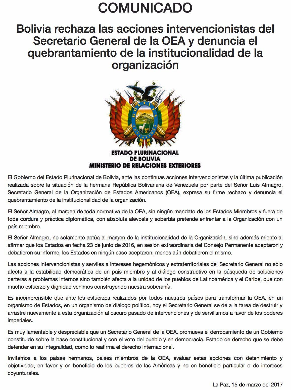 Bolivia - Respalda a Venezuela