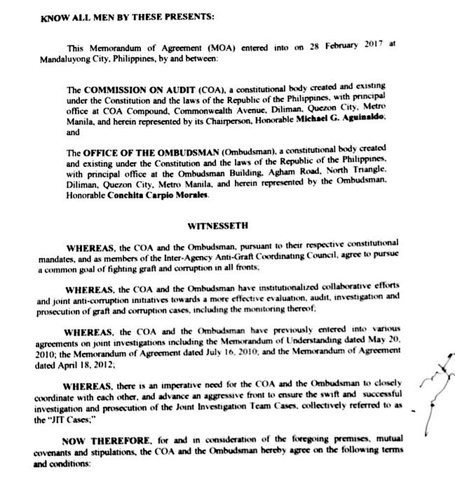 Inquirer On Twitter Ombudsman Coa Moa Also Provides For A Joint
