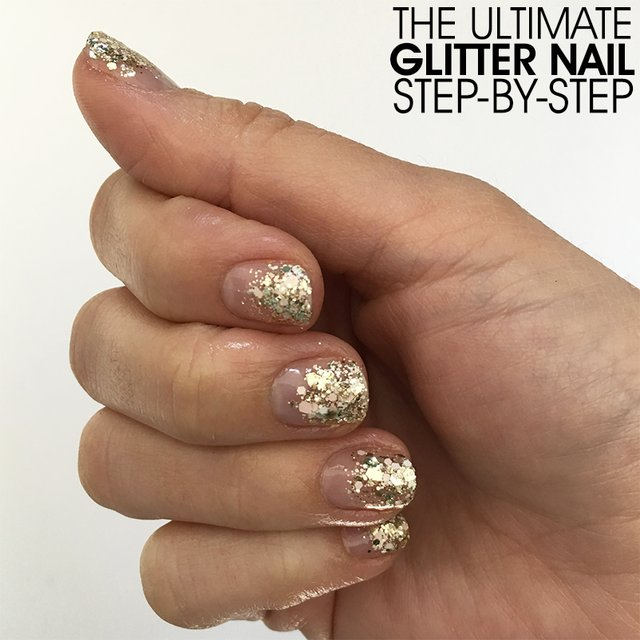 The Simplest Glitter Nail Step-By-Step