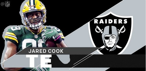 Congrats bro! (J-Mac)RT @NFL:.@RAIDERS sign @JaredCook8 (via @RapSheet)  http:// bit.ly/2iwjT3Y  &nbsp;   #Packers #GoPackGo #Buytopjerseys #NYGvsGB <br>http://pic.twitter.com/OMGcq8XsZq
