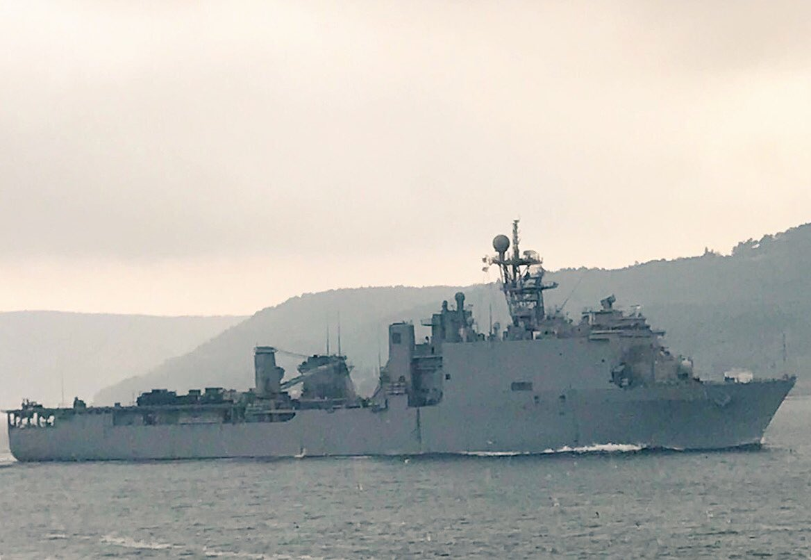 Little Creek VA based, Whidbey Island class @USNavy docklandingship USS Carter Hall 50 departs Aegean  and  transits Dardanelles towards Marmara