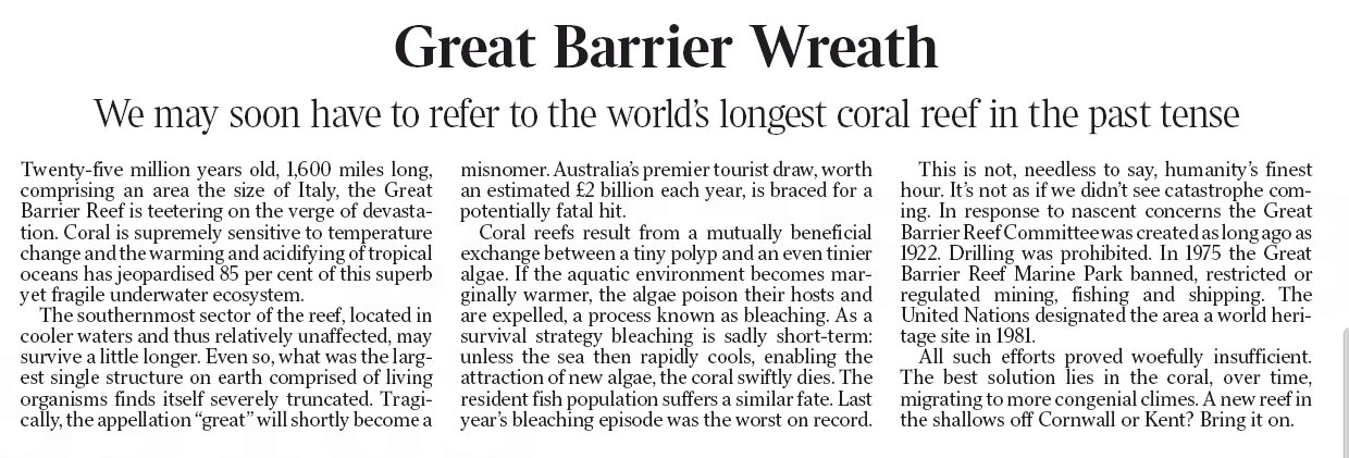 Times leader says Great Barrier Reef is 'teetering on the verge of devastation' due to global warming https://t.co/9YWgmG5ERy https://t.co/KiJfv67zXl