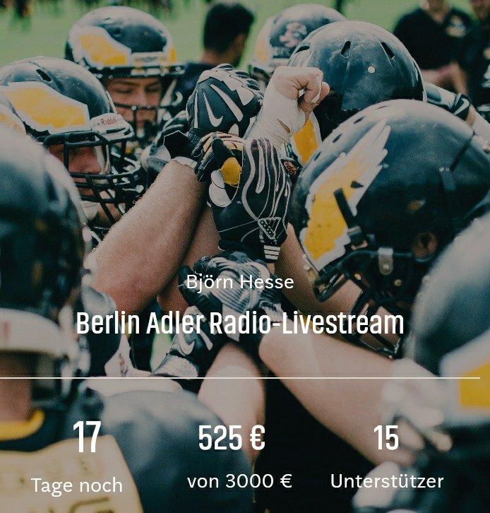 Wow! Schon mehr als 500€ am ersten Tag für den @BerlinAdler-Radio-Livestream. Hilf auch du mit! Alle Infos: 👇👇👇 https://t.co/NZyVHlcgzi https://t.co/sBI1M16l2z