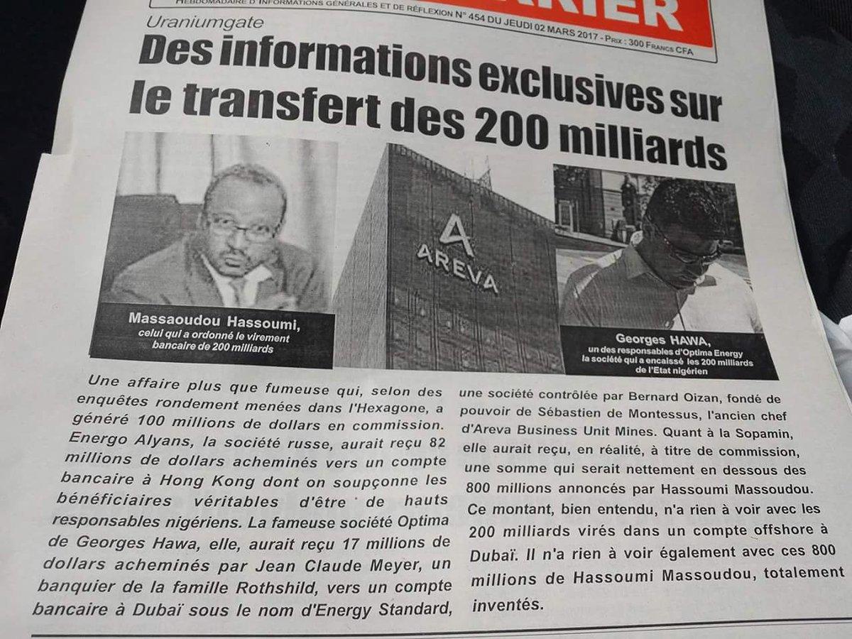 #Niger : Le parlement vote en faveur d&#39;une enquête parlementaire sur #uranium avec @AREVAfr impliquant #Massaoudou<br>http://pic.twitter.com/U98LYnASTF