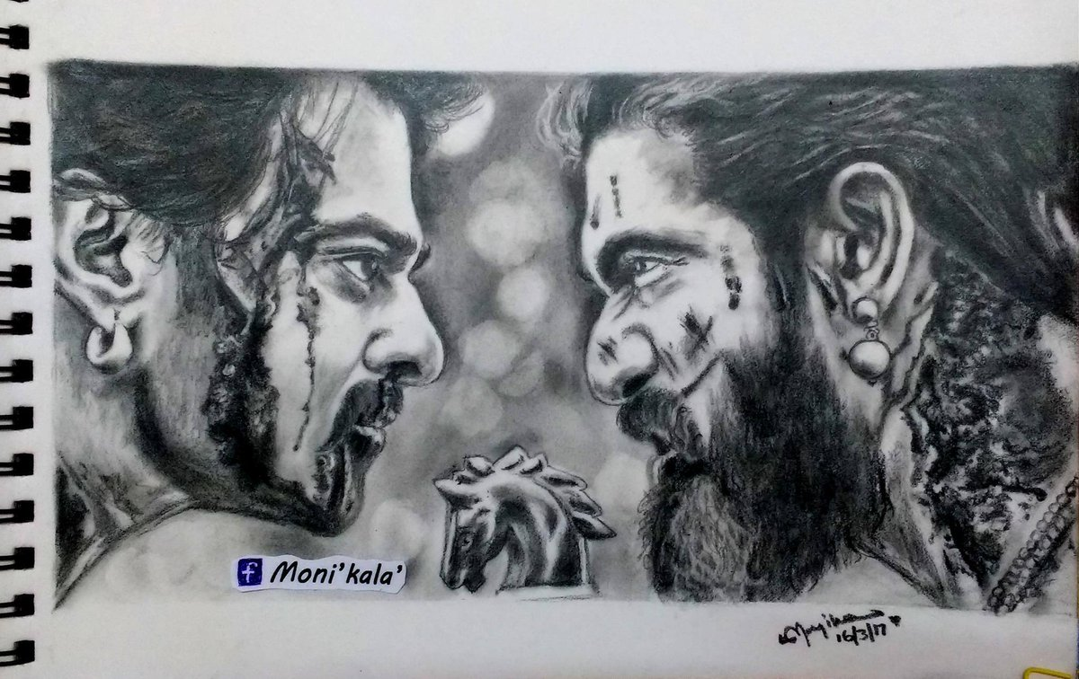 Baahubali on twitter a wonderful pencil sketch of the face off from the trailer of baahubali2 the conclusion by mounica fanartfriday